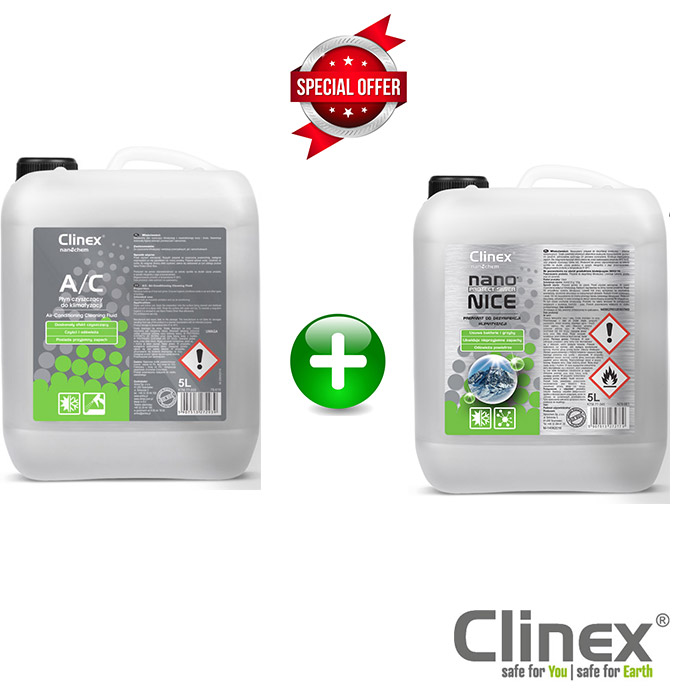 Πακέτο προσφοράς για καθαρισμό κλιματιστικών δωματίων και αυτοκινήτων 5lt