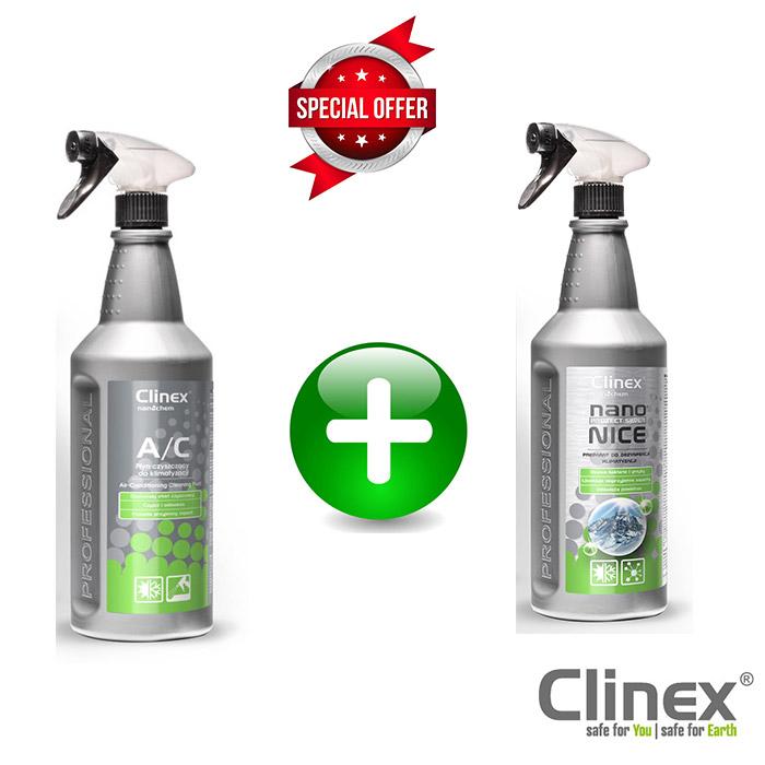 Πακέτο προσφοράς για καθαρισμό κλιματιστικών δωματίων και αυτοκινήτων 1lt