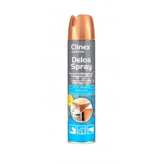 Clinex Delos Spray 2 σε 1, Προϊόν καθαρισμού & φροντίδας για ξύλινα έπιπλα 300ml