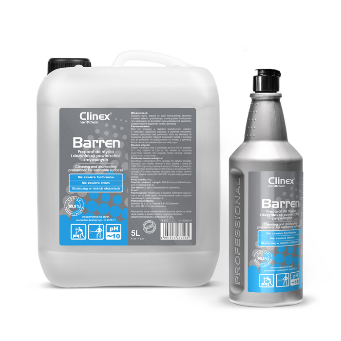Clinex Barren, Concentrated cleaning and disinfecting agent for washable surfaces having contact with food, 1L,  5L, 10L