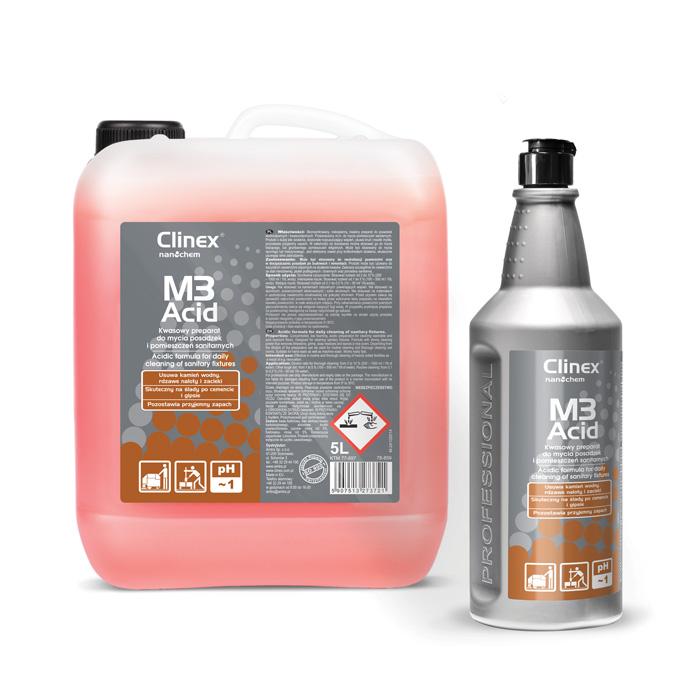 Clinex M3 ACID, όξινη φόρμουλα για καθημερινό καθαρισμό των δαπέδων χώρων υγιεινής και των ειδών υγιεινής, 1L