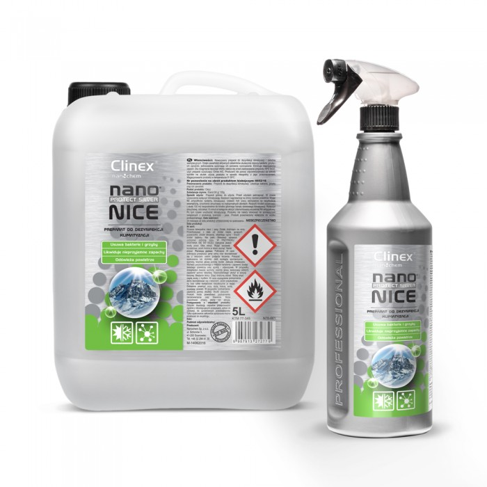 Clinex Nano Protect silver nice, Cleaning agent for air-conditioning and ventilation systems, 1L, 5L