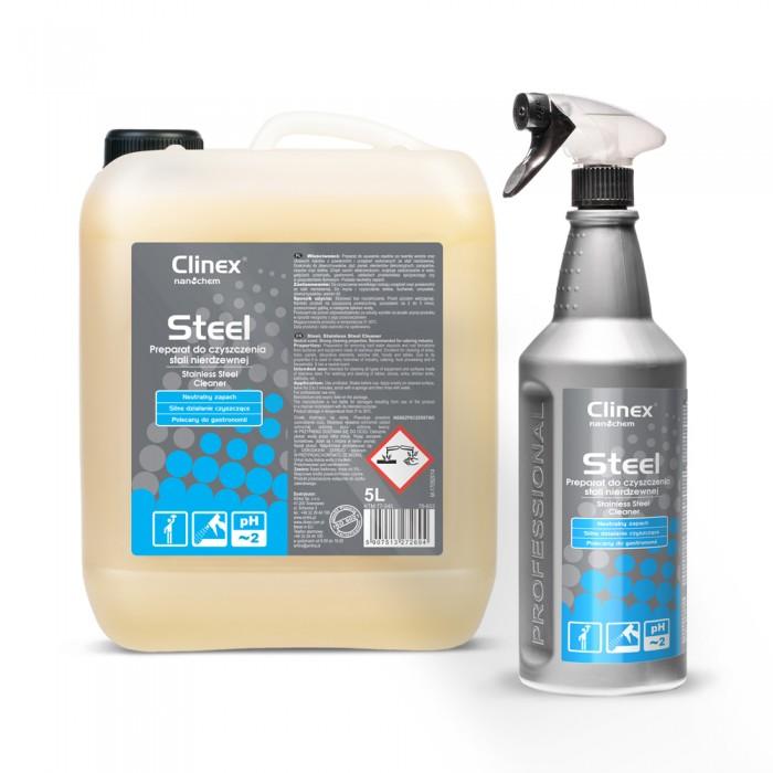 Clinex Steel, καθαριστικό για ανοξείδωτες επιφάνειες κι εξοπλισμό inox 1L, 5L