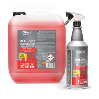 Clinex W3 Forte, έτοιμο προς χρήση ισχυρό προϊόν για τον καθαρισμό τουαλετών και μπάνιων, 1L, 10L